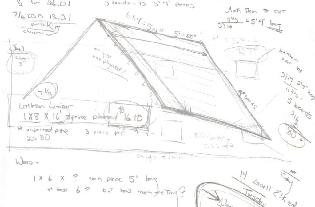 Rough sketch of roof with dimensions and notes on available lumber