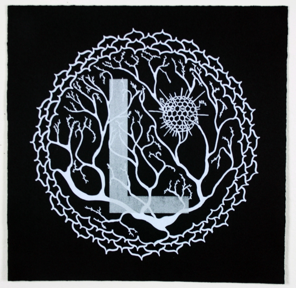 Silkscreen print with white and silver ink on black paper. The letter L floats over Purkinje's neuron inside Sahasara, the crown chakra.